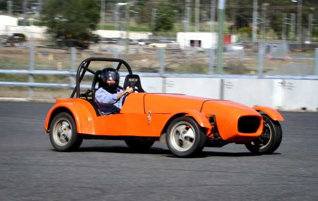 Artie Ramm competing in a motorkhana in a car he built. Photo Allan Reinikka / The Morning Bulletin