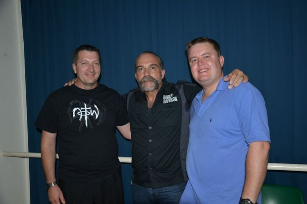 The Reverend Sam Childers, AKA the Machine Gun Preacher (centre) with Kevin Hutton and Pastor Scott Gunthorpe.