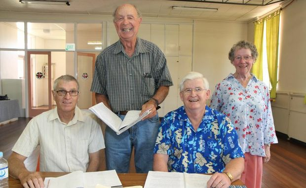 BACK TO SCHOOL: Looks like a classroom but members of Kingaroy Writers Association met for a workshop today, from left, Eric Munday, John Tully, Doug Hutcheson and Rosie Temple. Photo Rose Hamilton-Barr/ South Burnett Times