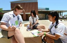 UNI LIFE: Year 9 Bremer State High students Cezanne Hanley, Tahlia Draven and Shaira Niere enjoy a scavenger hunt at UQ Ipswich.