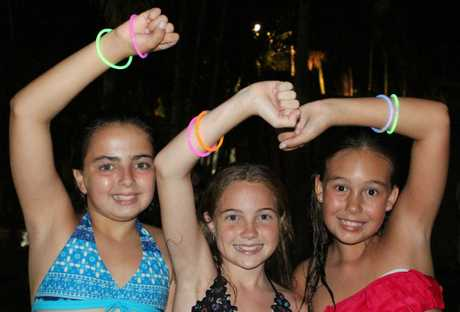 Lily Cameron, Lorinna Peach and Charlotte Brock took part in the Wii Just Dance world record attempt at BIG4 Adventure Whitsunday on Saturday night. Photo Sharon Smallwood / Whitsunday Times