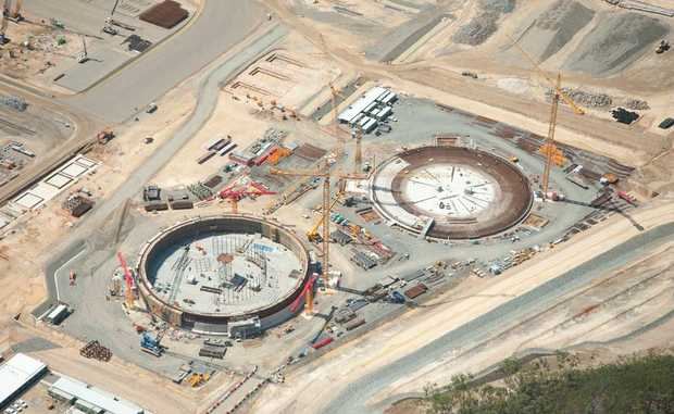 Two huge LNG tanks are under construction on Curtis Island, Gladstone.