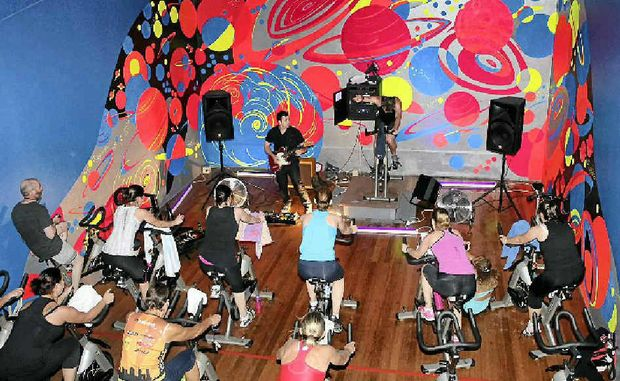 SPIN CYCLE: Matt George's spin class gathers pace to the soaring sound of a live guitar.