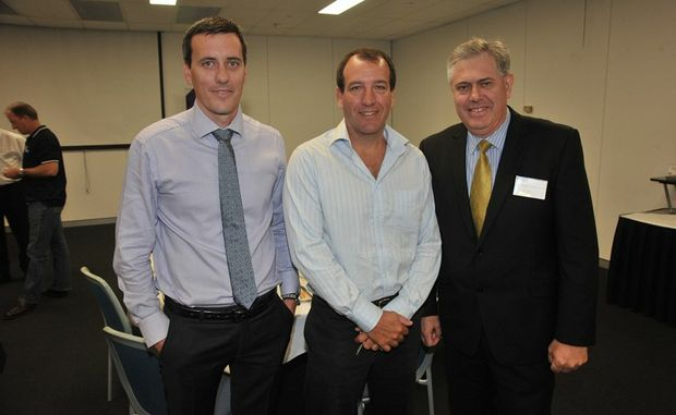 Chamber of Commerce and Industry Queensland Regional Roadshow breakfast at The Events Centre, Caloundra: Hamish Bolderston from CCIQ, Mal Brough and chair of the Sunshine Coast Stephen Dittmann.