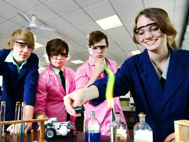 Bundamba Secondary College students will be heading to NASA. Year 11 students excited about the trip from left, Mitchell Bond, Ryley Weise, Brad Van Cooten, and Emma Newman. Photo: David Nielsen / The Queensland Times