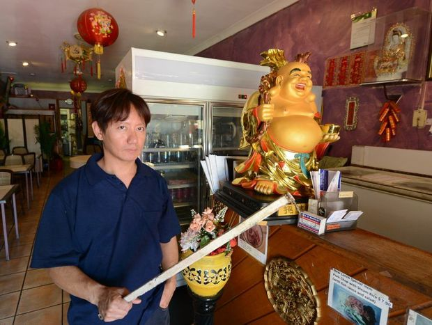 An attempted armed robbery went wrong when Silver Palace Chinese Restaurant owner, James Le-On, fought back with a metal bar at Redbank Plains on Wednesday night. Photo: Sarah Harvey / The Queensland Times