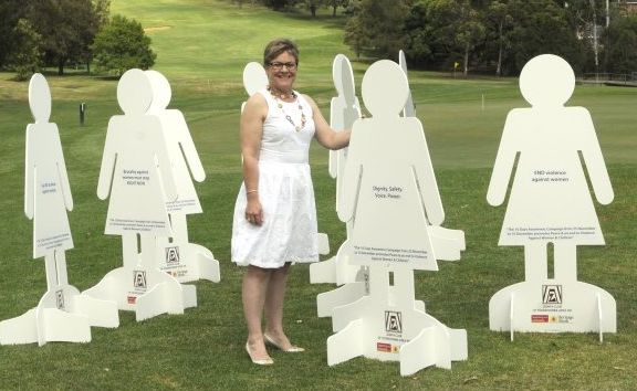 Kathryn Galea launches the Zonta Club&squot;s 16 Days of Awareness campaign.