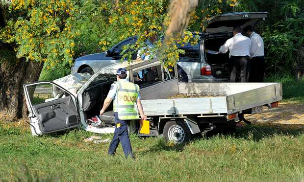The scene of a fatal accident in West Ipswich where a vehicle ran into a tree.