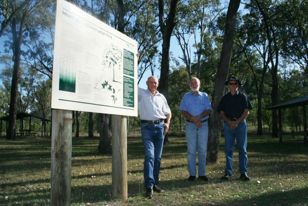 Thangool Inc president Ken Stanley, John Griffiths and vice-president David Bawden hope this latest push to have camping allowed at Mt Scoria is successful.
