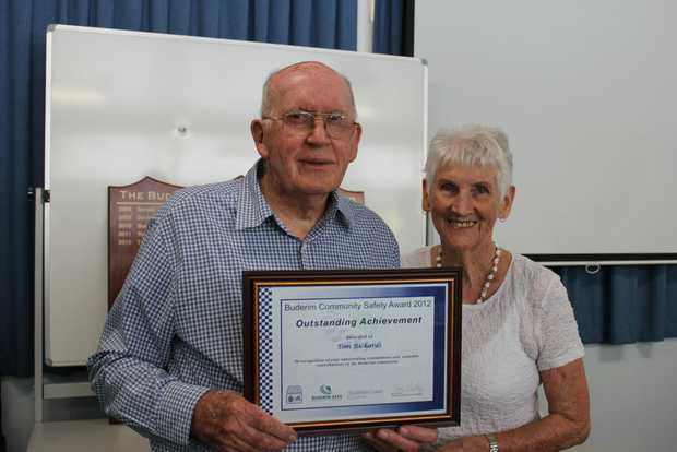The 2012 Buderim Community Safety Award winner Tom Rickards with wife Marie.