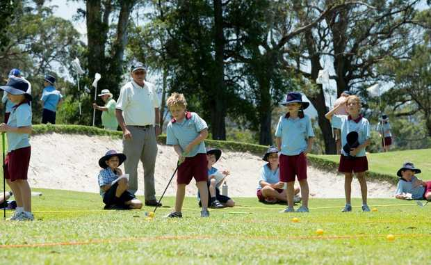 St Augustine's Primary School students hit the greens at Coffs Harbour Golf Club as part of the Jack Newton Junior Golf Foundation's My School program.