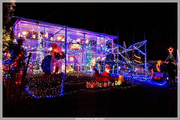 Shane and Debbie Horswill's Christmas lights display.