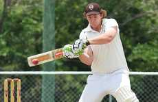 FIRST WIN: Jack Young cuts a delivery on his way to 21 for Ipswich Logan in yesterday's Plunkett Cup win over Churches.