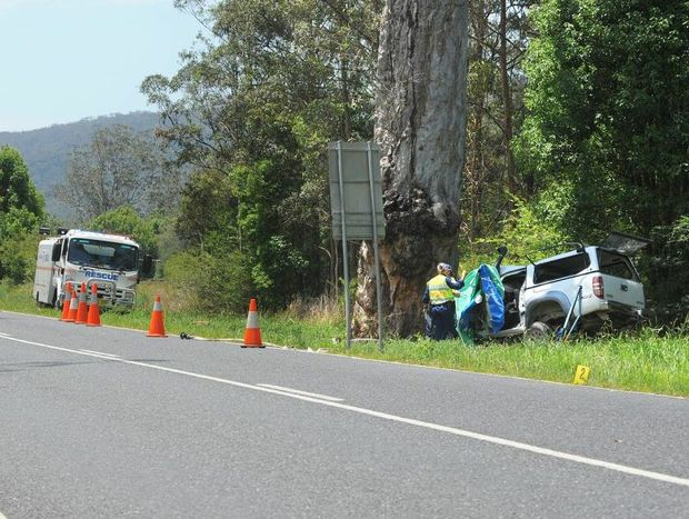 Emergency services attend the scene of the fatal crash north of Nana Glen.