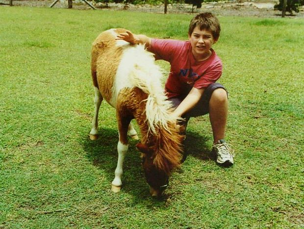 Daniel Morcombe with a pony.