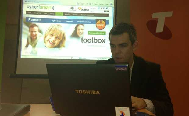 Telstra's Scott Mullaly hosted the event to provide information to parents to keep their children safe online.