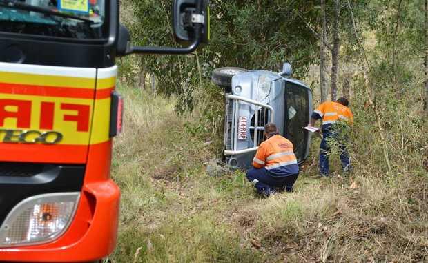 A mum and her four children survive a crash on Neerdie Rd, Gunalda.