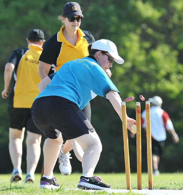 HOWZAT? An Occasionals player attemps a run-out during Saturday's vigoro matches at East Ipswich.