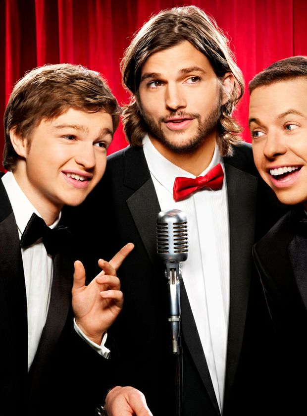 Two and a Half Men stars, from left, Angus T Jones, Ashton Kutcher and Jon Cryer.