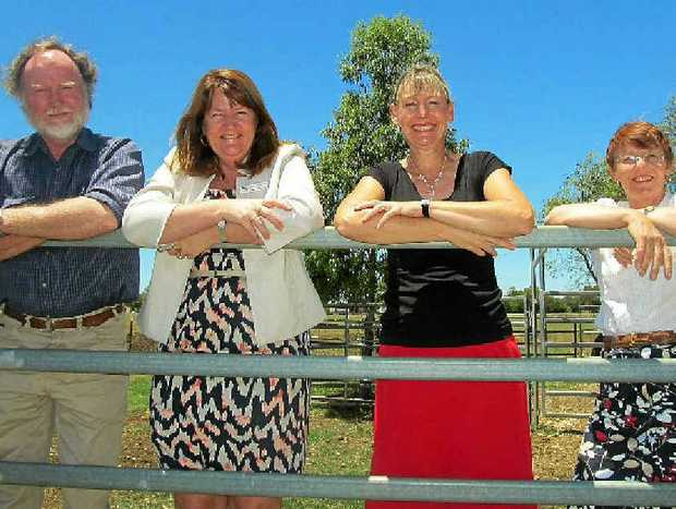 GROUND-BREAKING PROGRAM: Looking out over the area soon to be dedicated to the horse yards for the new Equine Program at Clifton State High School are (from left) teachers Dick Collyer, Head of Department Alternate Pathways Jayne Kennedy, principal Joy Craig and deputy principal Charlotte White.