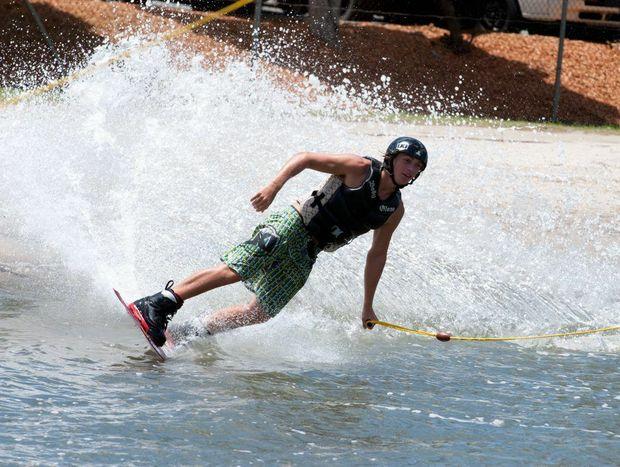 Sunshine Coast cable skier James Windsor in action.