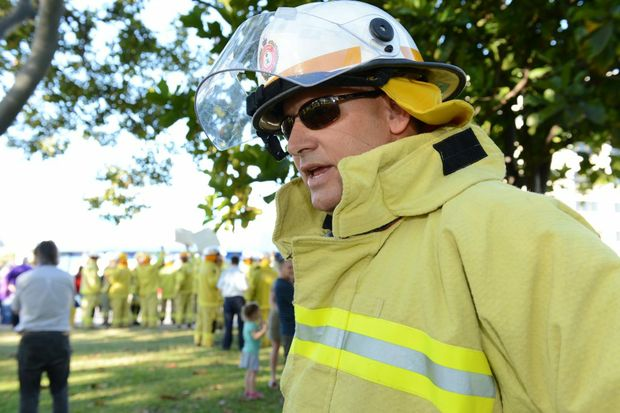 Central Region senior firefighter Greg Harris. United voices national day of action - Public service rally in Rockhampton following the Campbell Newman budget announcements. Photo Sharyn O'Neill / The Morning Bulletin