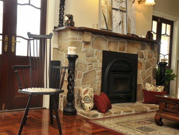 The sandstone for this fireplace was all sourced from Hollie and Lloyd's property.