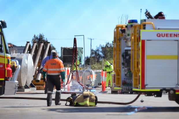 NQX Freight System on Young Street, Gladstone, where an exclusion zone has been set up following a chemical spill.