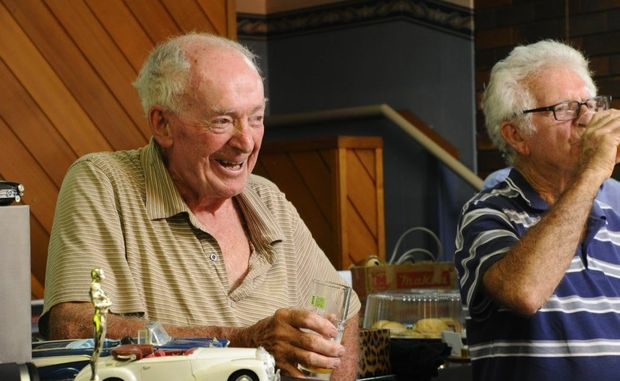 Gents from the U3A Mens Shed taste-test Grafton Bitter at the Grafton Brewery. David Abrahams (left) drank from the first ever keg of Grafton Bitter, back in 1951. Photo: JoJo Newby / The Daily Examiner