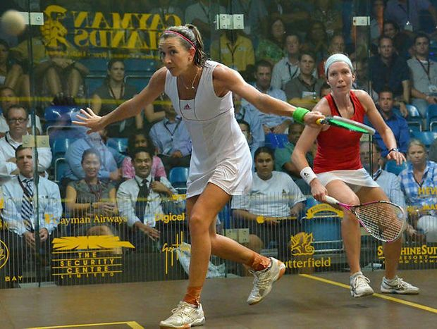 Donna Urquhart plays a shot against Ireland's Madeline Perry in a quarter final win at the Cayman Islands Squash Open. Photo: Squashsite