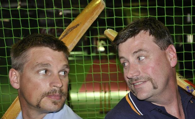 Ben Adams (left) of Hutchinson Builders locks eyes with opponent Jason Wardle of RMA.