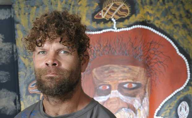 Robin Wakkajinda is having an exhibition of his art at the old courthouse opening on Friday night. Photo: Rob Williams / The Queensland Times