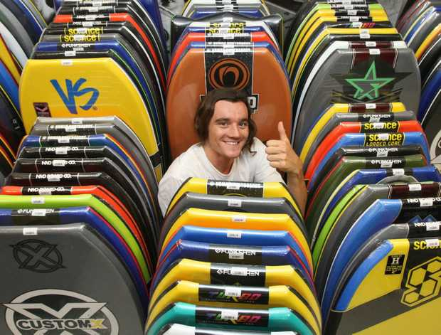 Jimmy Williamson in Bodyboarding Surf Co at Coolangatta which will open soon.