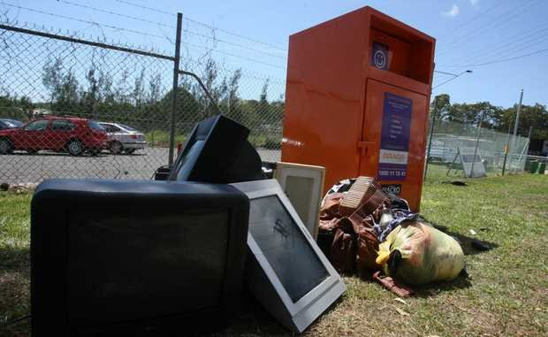 Garbage dumped outside the Endeavour Foundation bin on Main Road Maroochydore.