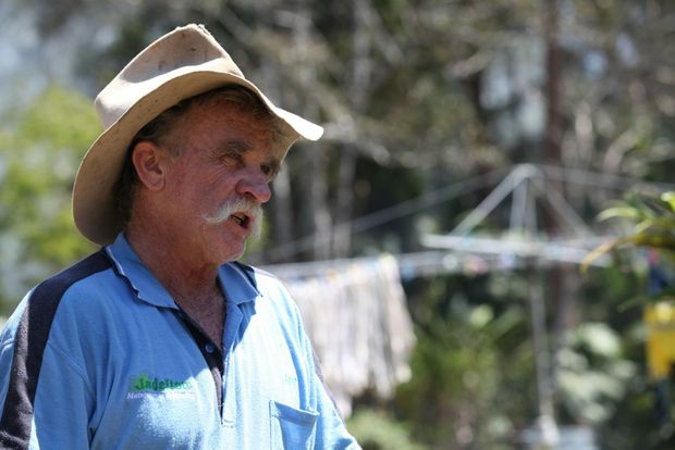 Brookland Rd, Tinbeerwah resident Jay Harney coming to grips with losing his shed and contents in a fire. Photo: Darryn Smith / Sunshine Coast Daily