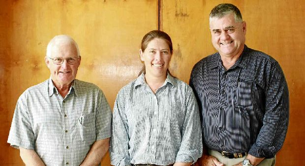 AG MEETING: David Woowich of Tansey and re-elected branch president Erin Lawless of Booubyjan talked with newly elected Agforce state president Ian Burnett.