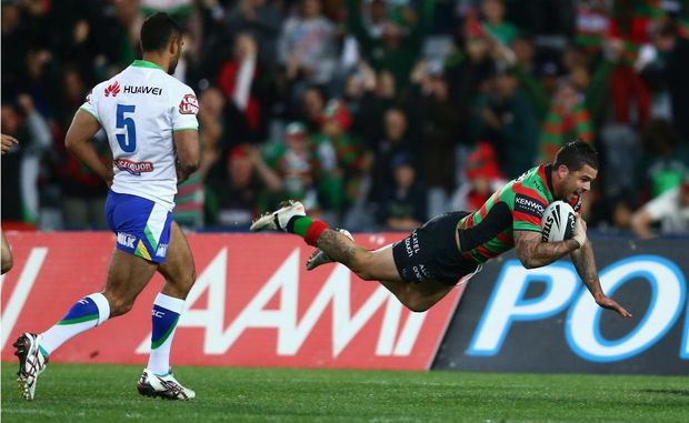 Adam Reynolds of the Rabbitohs scores a try during the NRL Semi Final match between the South Sydney Rabbitohs and the Canberra Raiders at ANZ Stadium on September 15, 2012.