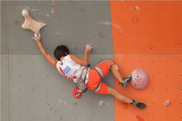 Liu Hiu Ying of Hong Kong completes in the Sport Climbing Women's Lead Final on Day 4 of the 3rd Asian Beach Games Haiyang 2012 on June 20, 2012 in Haiyang, China.