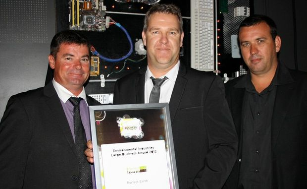 Environmental Industries Award - Large: Perfect Earth: David Wotton, left, Marcus Koolen and Jason Peake at the Sunshine Coast Business Awards 2012.