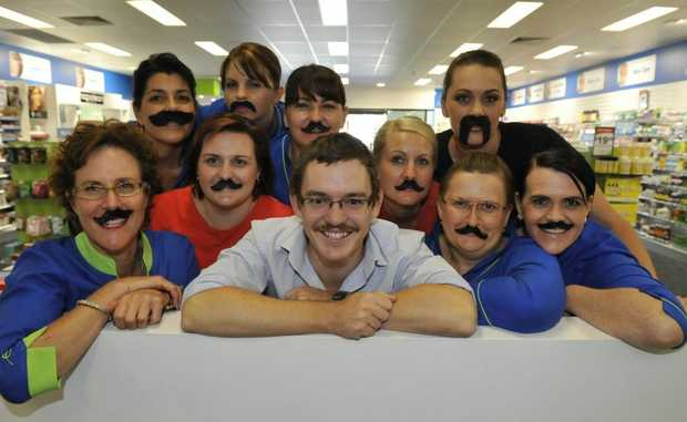 MOVEMBER MEN: Coral Coast Pharmacy staff get into Movember mode. Annabelle Hirst, Scott Williams, Selina Russell and Linda Davis (front). Teresa Alo, Donna Wall, Crisandra Cox, Tricia Cooney, Alicson Gahan and Jenny Francis (back). Photo: Mike Knott / NewsMail