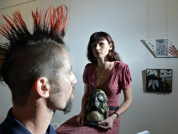 David Beckitt and Nina Florence are showing their work at The Swich Contemporary Art Space's final show of the year, Size Matters III The End is Nigh. Photo: Claudia Baxter / The Queensland Times