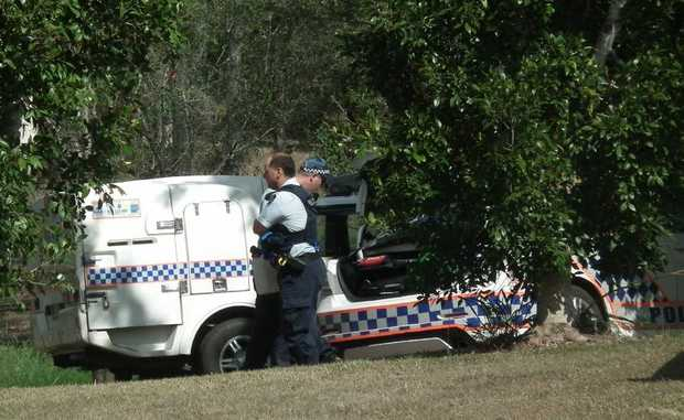 A man has been taken away in a police wagon after an incident at George Furber Picnic Grounds in Maryborough.