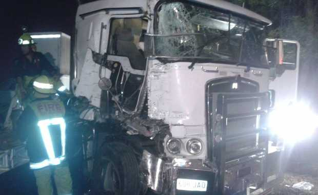 Truck accident in Woodburn early this morning. Photo Contributed