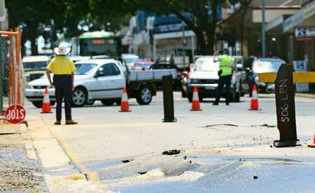 ROAD WOE: Traffic backs up in Ipswich CBD due to a burst water main on Brisbane St.