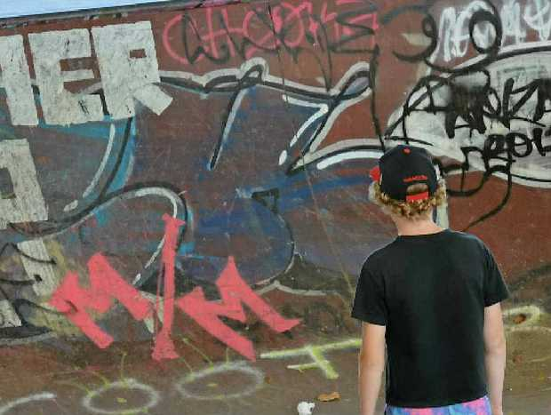 GETTING TOUGH: Graffiti at Kemmis Park in South Mackay. Offenders face tough new laws.