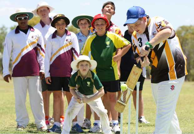 STEADY EYE: Flora Cassidy keeps a close watch on a delivery during the Cricketing Greats Coaching Clinic in Emerald on Tuesday.
