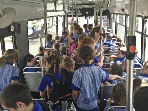 The crowd of children on Bus 12 on Thursday Photo Adam Hourigan / The Daily Examiner