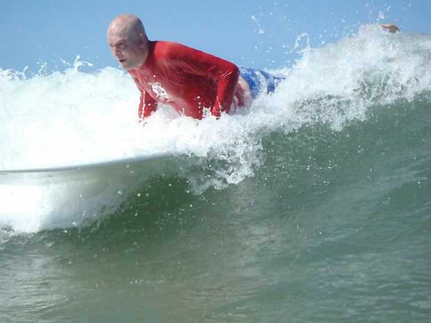 Matt Golinski having a surf at Alexandra Headland thanks to the Peter Hughes Burn Foundation. Taken from their Facebook page.