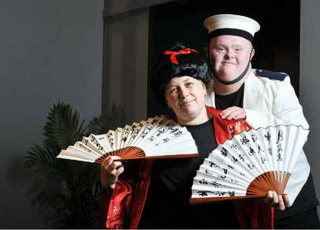 IN CHARACTER: Paris Crucshank and Nick Lynch are taking part in the Ipswich Little Theatre's production of Madame Butterfly as part of the Community Access and Transition Service.