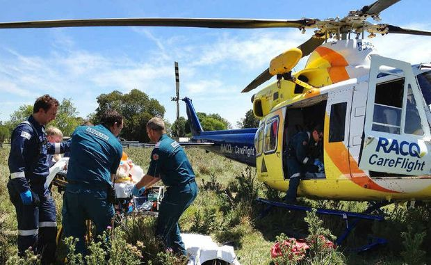 CRITICAL CONDITION: An elderly man is flown out after being bitten twice by a brown snake on his Wilsons Plains property, 30km south of Ipswich.